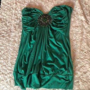 Emerald green sweetheart cut tube top